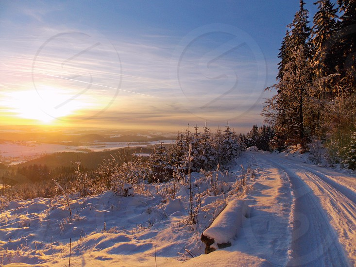 sunset in winter time photo