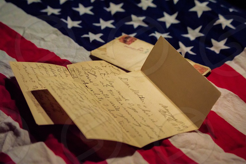 Old letter with American flag photo