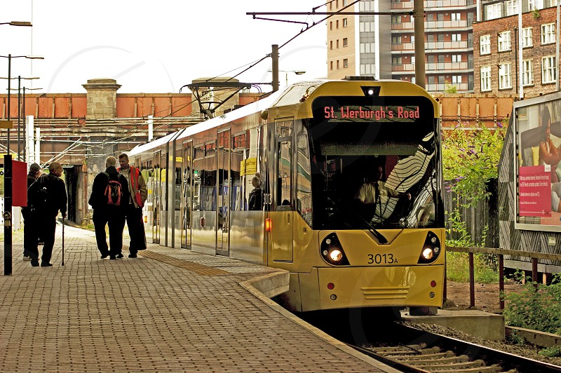 MANCHESTER. Victoria Station Metrolink tram 3013 ready to leave with a service to St. Werburg's Road. photo