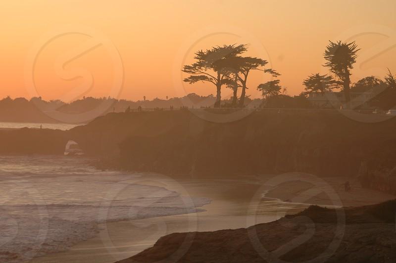 sunset view ocean trees cost sun beach sand sky waves wave sea photo