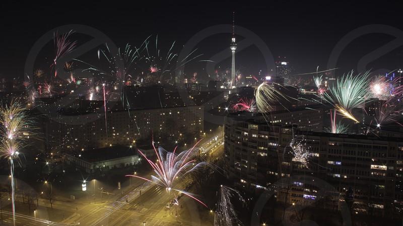 Berlin New Years fireworks night joy celebration tv tower  photo