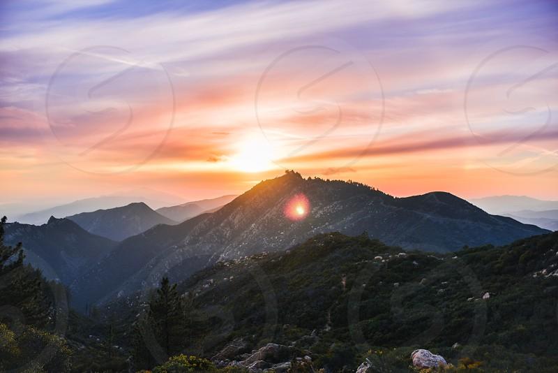 sunset mountains santa barbara flare sky clouds color nature scene landscape photo
