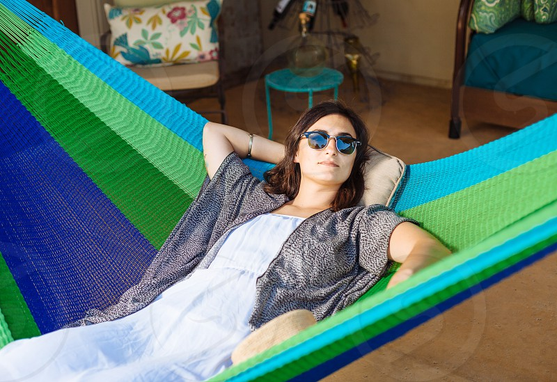 woman on hammock photo