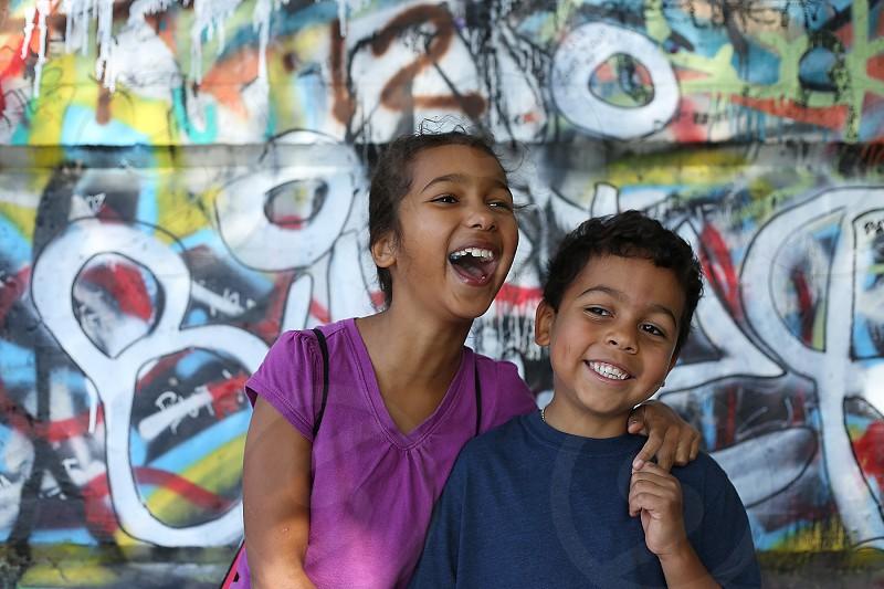 Siblings graffiti photo
