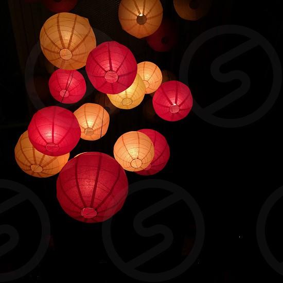 red and orange sky lantern photo