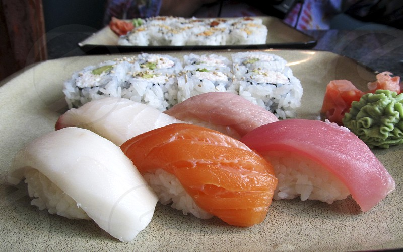 Sushi lunch plates photo