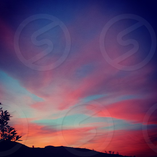 Pink clouds at sunset sky cloud purple pink blue photo