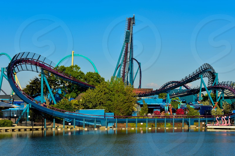 Orlando Florida. March 09 2019.  Partial view of Kraken rollercoaster and Mako rollercoaster at Seaworld in International Drive area. photo