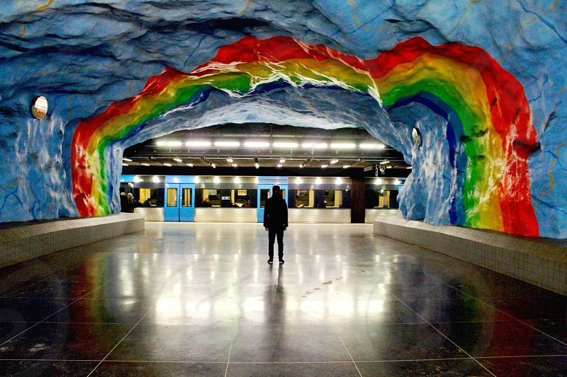 rainbow designed tunnel ceiling photo