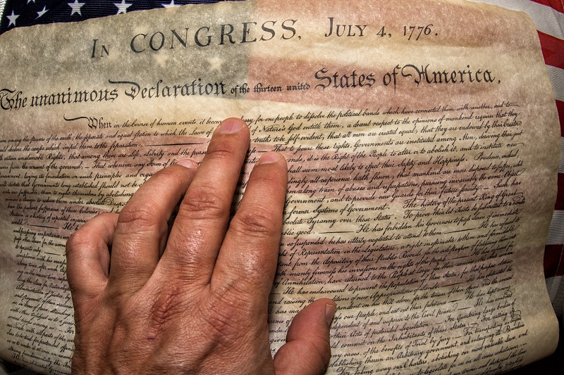 4th july 1776 declaration of independence detail photo