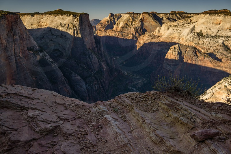 Hiking to Observation Point in Zion National Park Utah. photo