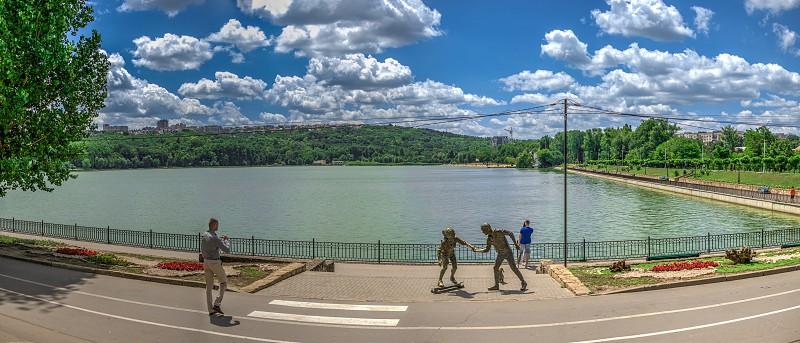 Chisinau Moldova – 06.28.2019. Sculpture by the Valea Morilor Lake in Chisinau Moldova photo