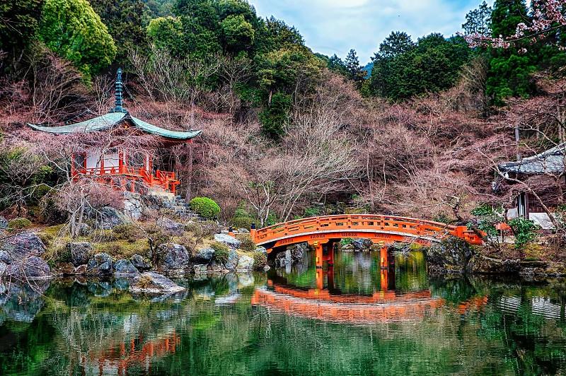 orange wooden bridge and chinese tower photo