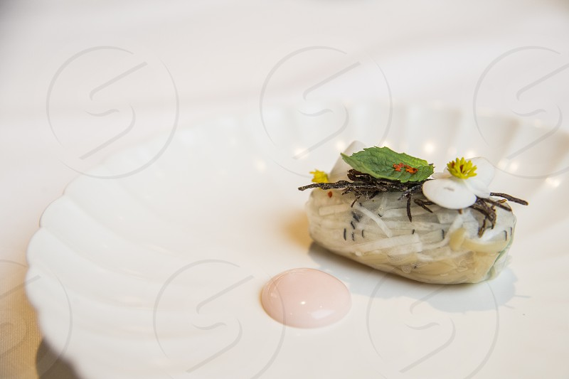 cooked food served on white ceramic scallop edge plate photo