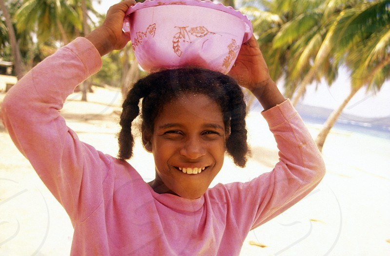 a girl at the Village of Las Terrenas on Samanaon in The Dominican Republic in the Caribbean Sea in Latin America. photo