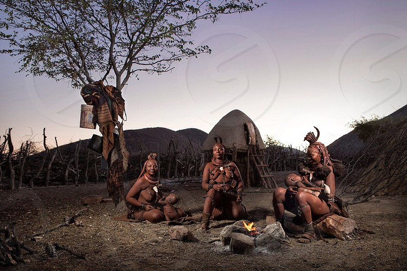 men on a tribe and a tree photo