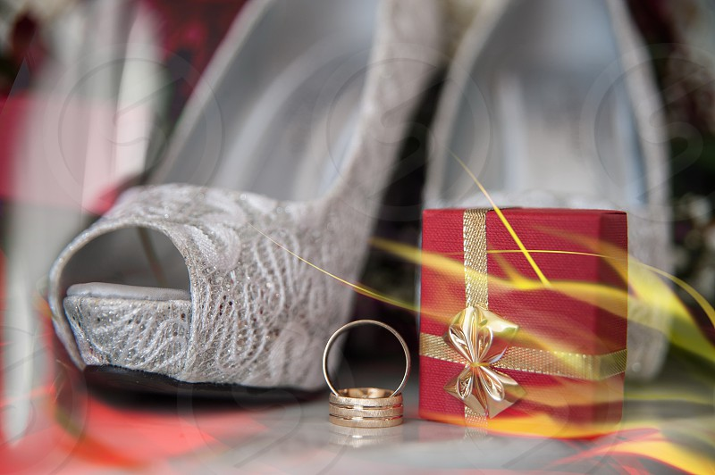 Wedding rings Wedding items Wedding day photo