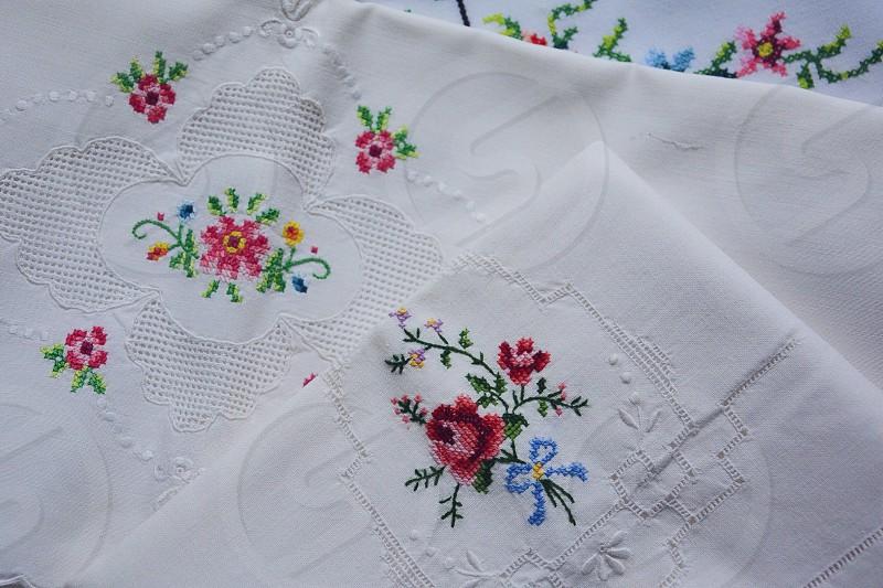 Vintage cross stitch pillow cases photo