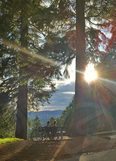 Bikers enjoying the sunset at Mt Tabor Park in Portland Oregon photo