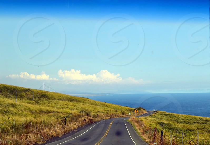black top road between green grass near sea under blue sky at daytime photo