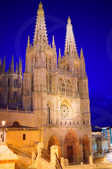 Burgos Cathedral facade in Saint James Way at Castilla Leon of Spain photo