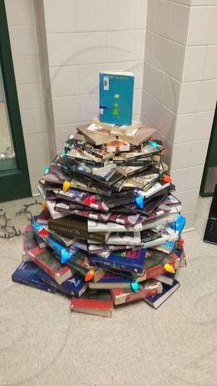 Christmas book tree at my high school in Huntingdon Pennsylvania photo