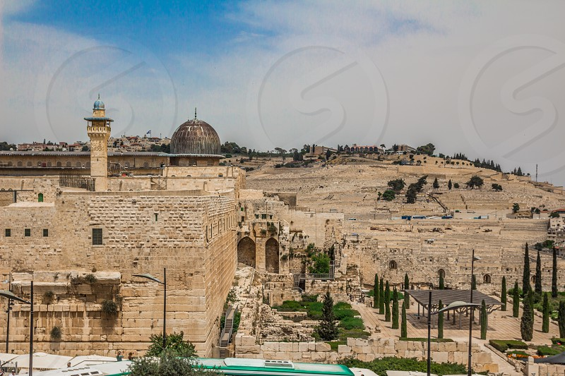 Al-Aqsa mosque  in the old city of Jerusalem Israel viewed from the rooftops in the Jewish Quarter. photo