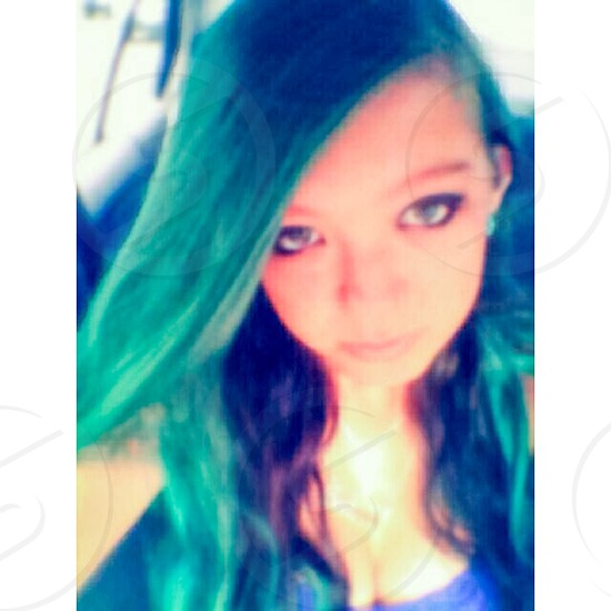 Teal hair don't care photo