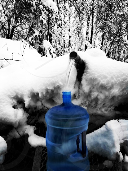 Wintertime at the springs. Spring water up in the hills  is priceless. photo