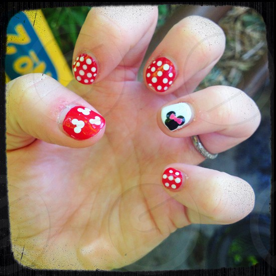 Disneyland Minnie Mouse nails. Nail art. photo