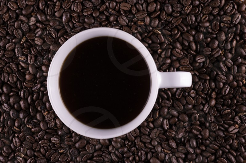 Coffee sitting on coffee beans photo