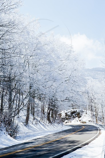 mountain road with snow photo