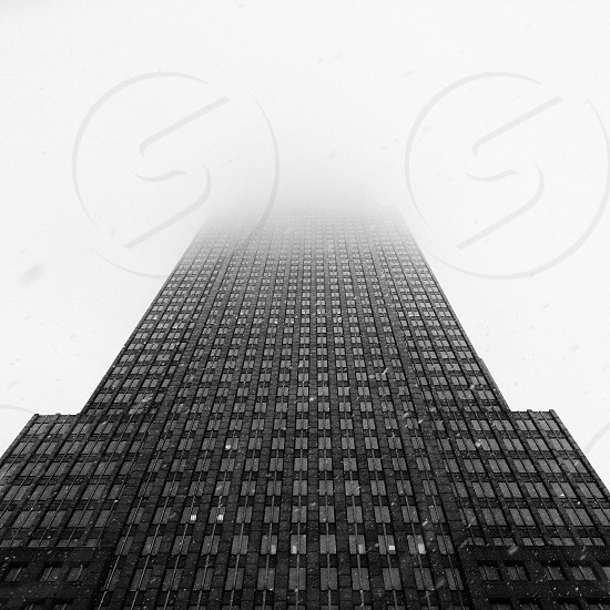 Key Tower Cleveland building skyscraper lookup black and white B&W architecture fog foggy  photo
