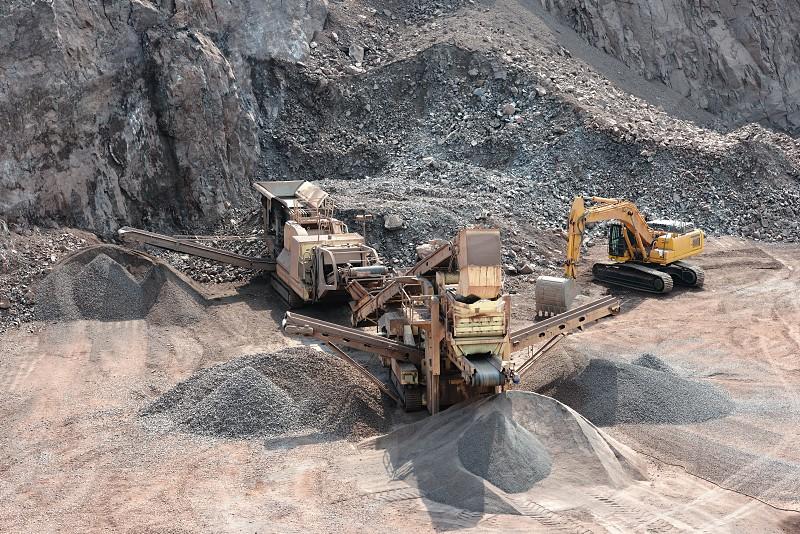 stone crusher in surface mine. mining industry. quarry. machine. photo
