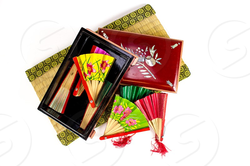 Oriental Asia fan Japan red china box yellow photo