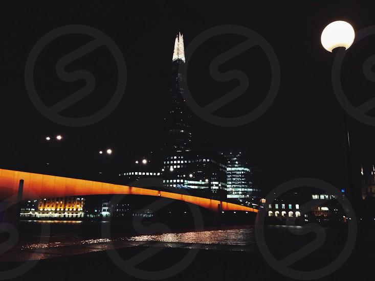 London city bridge the shard urban night photo