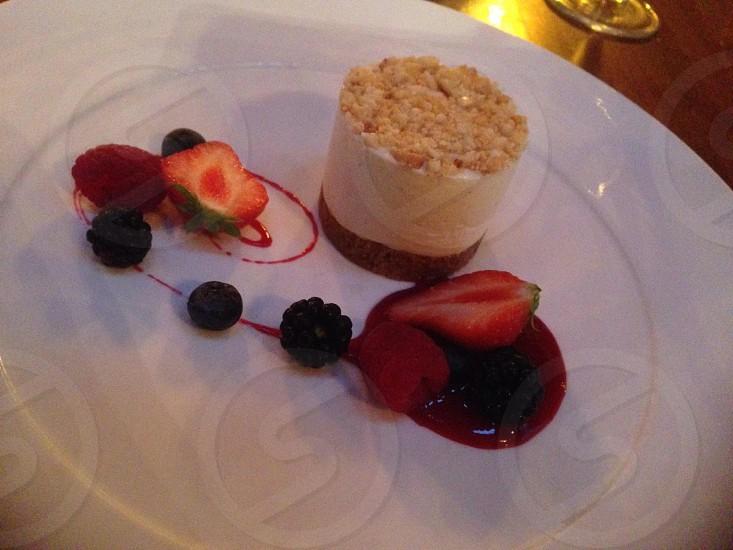 Beautiful mixed berry cheesecake at Sosban restaurant Llanelli.  photo