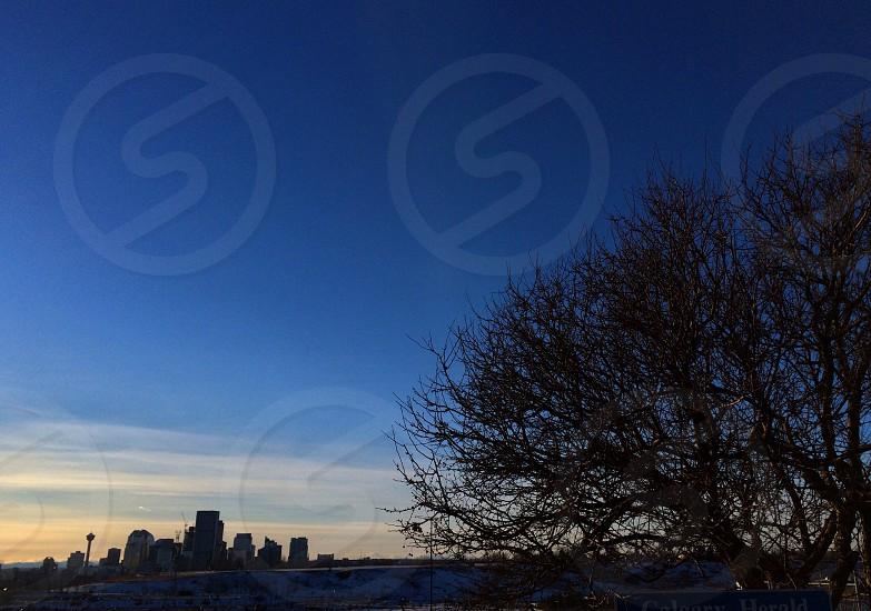 Calgary Alberta Canada skyline sunset  photo