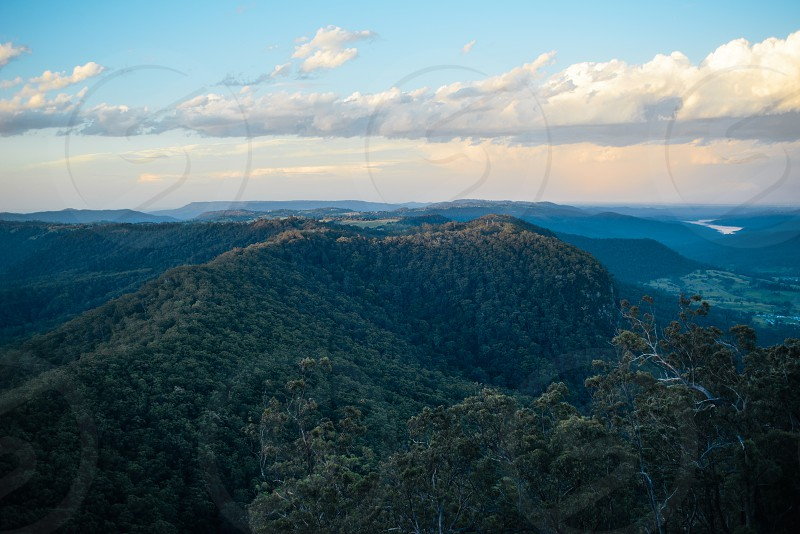Blue Mountains of New South Wales Australia at Sunset photo