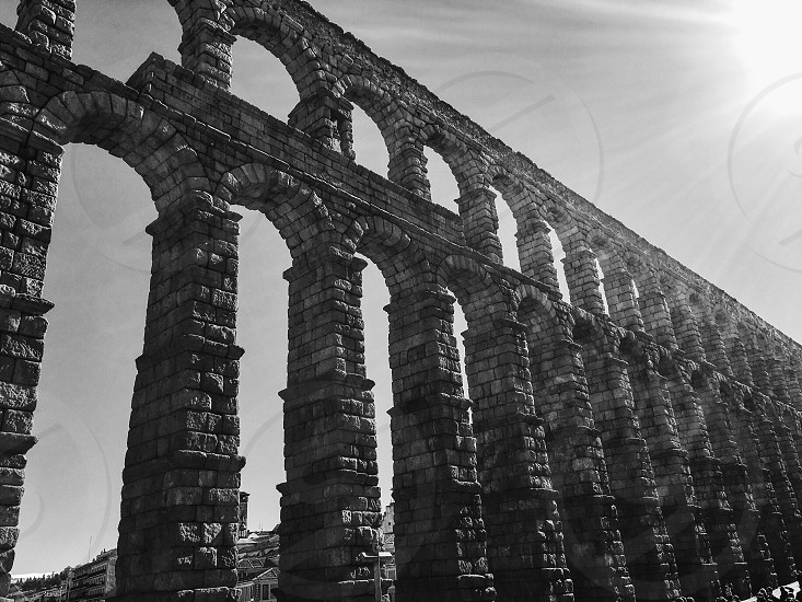 Segovia Spain Romans aqueduct engineering stone structures arches culture history travel adventure España  photo