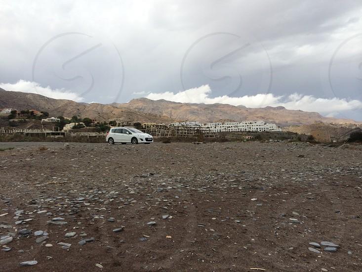 Landscape white car Almería cabo de gata photo