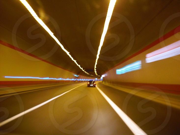 automobile tunnel panning shot photo