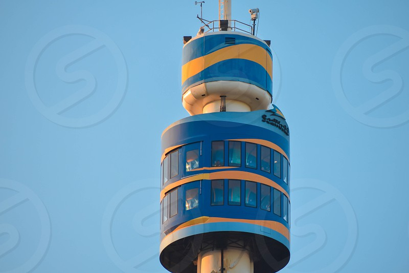 Orlando Florida. March 09 2019. Top view of Sky Tower  at Seaworld in International Drive area. photo