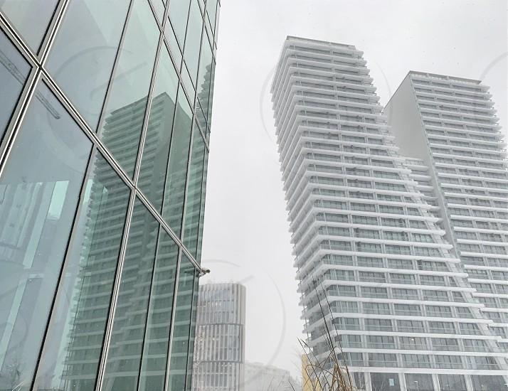 Skyscraper architecture modern urban photo