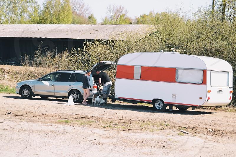 Car and a caravan photo