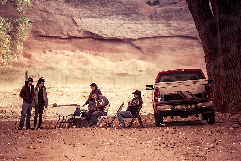 Navajo Indians Selling Their Wares in Canyon de Chelly photo