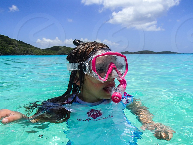 day at the beach snorkeling Caribbean blue waters photo