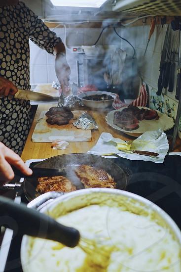 I create food cooking dinner teamwork kitchen photo
