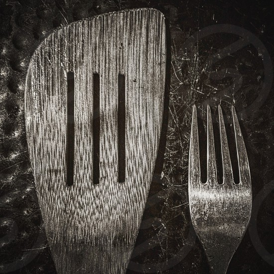 Untitled Kitchen series.  three lines fork peel monochrome objects home photo