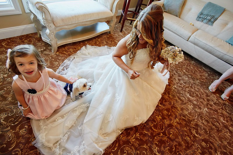 Bridal suite wedding day flower girl flower dog wedding dog funny girls silly bride happy photo